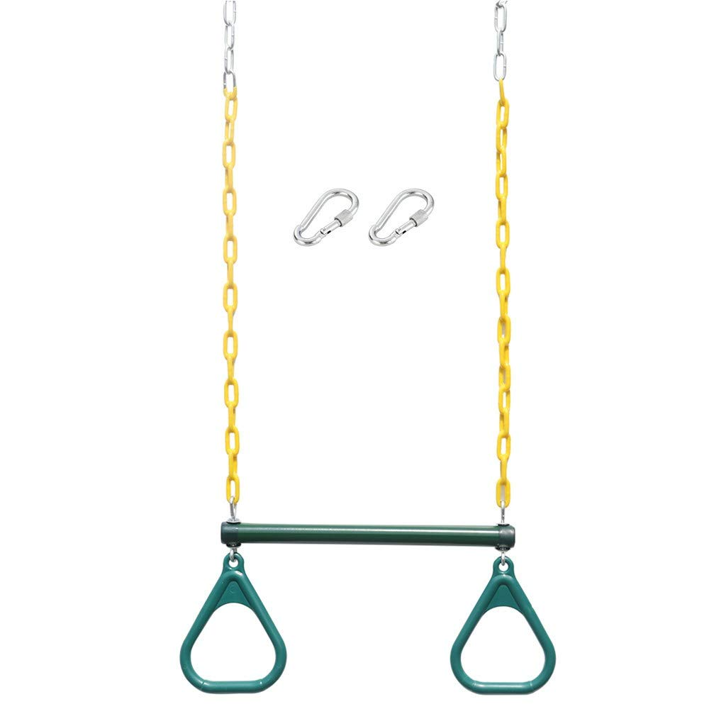 Lebeauty Heavy Duty Steel Trapeze Bar with Rings and Plastic Coated Chains Green 17.69x9.6x2in by Lebeauty