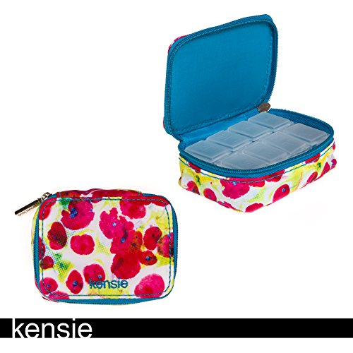 Kensie Travel Pill Box Organizer in Zipper Case Blue Floral