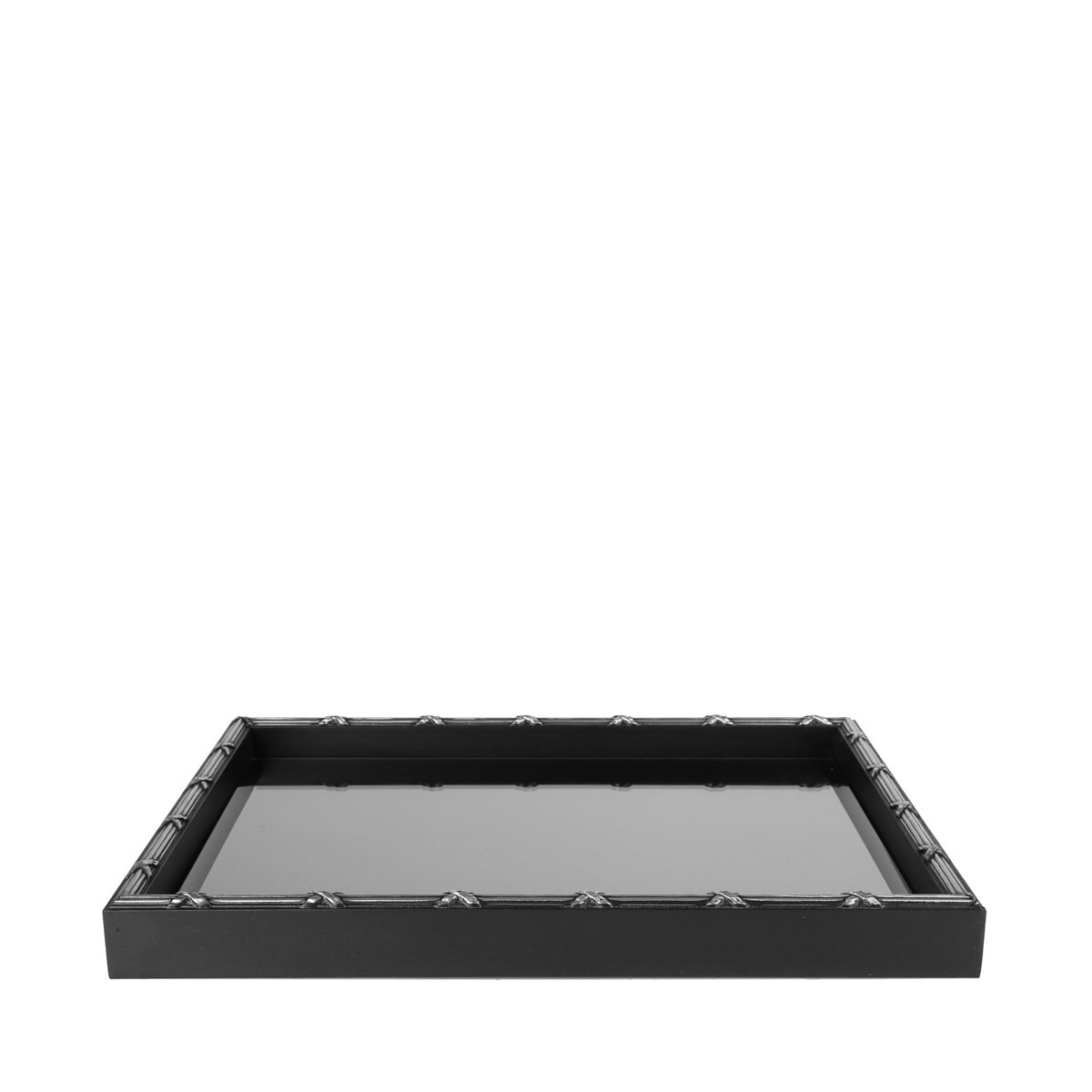 Woodart Croisé Wooden Serving Tray with Handles (Black, 15x11) by Wood Art (Image #1)
