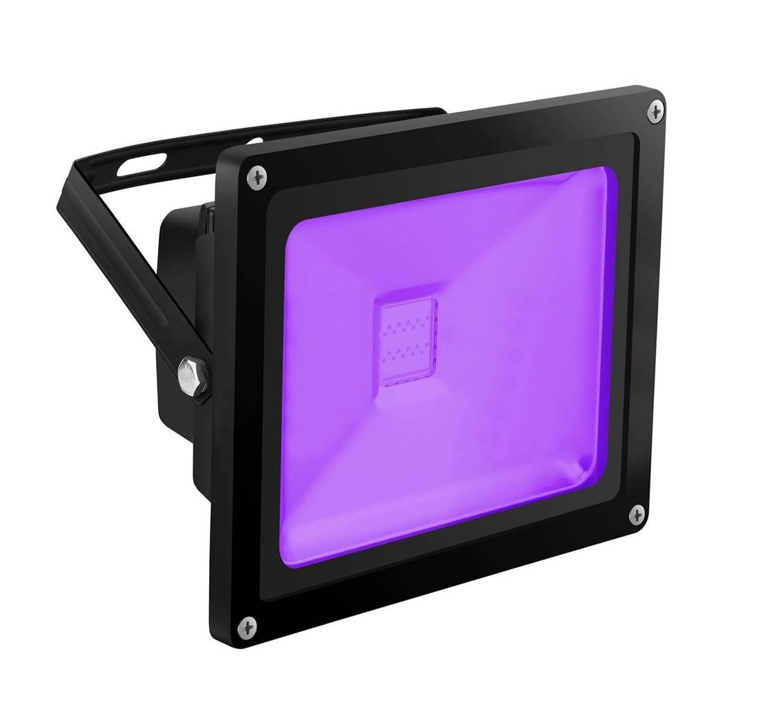 HouLight high power 20W Ultra Violet UV LED Flood Light IP65-Waterproof (85V-265V AC) for Curing, Blacklight, Fishing, Aquarium, Glow in the dark and Special effects, with US plug