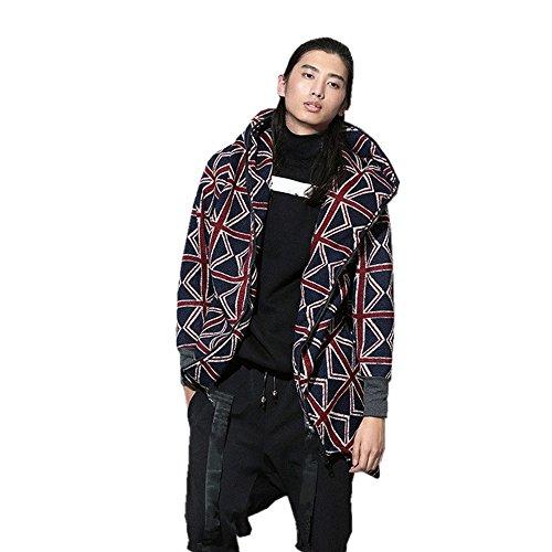 SanReach Herren Microfleece Mäntel Tarnung Full Zip Kapuzenjacke Hip-Hop Jacke Parka mit Kapuze Union Jack Muster