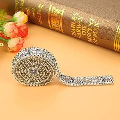 1 yarda 15 mm Rollo de malla de diamante Rollo Sparkle Decoraci/ón de la cinta de diamantes de imitaci/ón de cristal para la ropa Vestido Cintur/ón Borde de la cinta de diamantes de imitaci/ón Plata