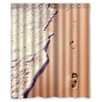 Amazon Waterproof Bathroom Footprint In The Sand Shower Curtain