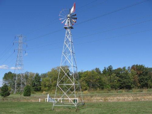 30 Ft Made in the USA Premium Aluminum Decorative Garden Windmill-Green Yellow Stripe