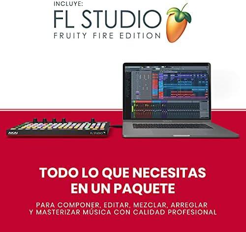 AKAI Professional FIRE con paquete Software - Controlador USB MIDI para FL Studio con matriz 4x16 de clips y drum pads RGB y Software FL Studio Fruity ...