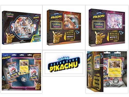 2017 Collector Tin Set - Pokémon TCG Detective Pikachu Ultimate Trainer Kit Bundle, Including Charizard GX Box, Mewtwo GX Box, Greninja GX Box and 2 Case Files