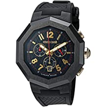 Roberto Cavalli by Franck Muller Men's 'Octagon' Quartz Stainless Steel and Rubber Casual Watch, Color Black (Model: RV1G009P0036)