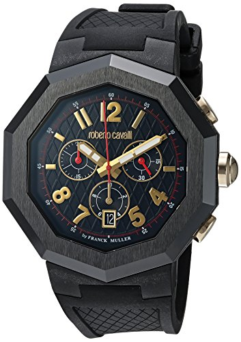Roberto Cavalli by Franck Muller (PU5E5) Men's 'OCTAGON' Quartz Stainless Steel and Rubber Casual Watch, Color:Black (Model: RV1G009P0036)