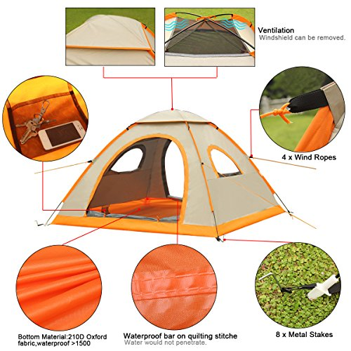¡¾Grande taille¡¿ G4Free Grand Pop Up Tente de camping automatique Installation instantanee Facile Fold arriere abri de plage avec revetement ANTI-UV pour 2-3 personnes UPF 50+