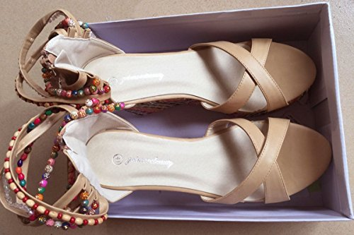 getmorebeauty 17-XX Getmorebeauty Women's Wedge Sandals Pearls Across The Top Platform High Heels 9 B(M) US