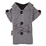 East Side Collection Polyester First Lady Gingham Dog Trench Coat, XX-Small, 8-Inch, Black, My Pet Supplies