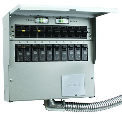 510C Pro/Tran2 50-Amp 10-Circuit 2 Manual Transfer Switch with Watt Meters by Reliance Products