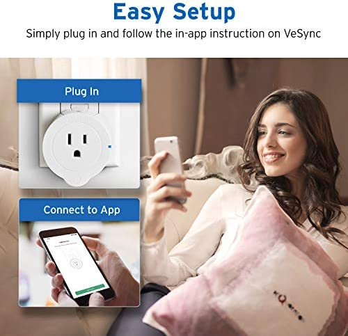 VeSync Smart Plug by Etekcity, 2 Pack Mini WiFi Outlets, Works with Alexa, Google Home IFTTT, Remote Control from Anywhere, WiFi Energy Monitoring with Schedule Function, No Hub Required, ETL Listed