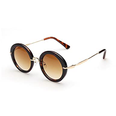 8e4dece3429 VeBrellen Vintage Women Round Mirror Glasses Polarized Sunglasses Men  Driving Sun Glass (Leopard