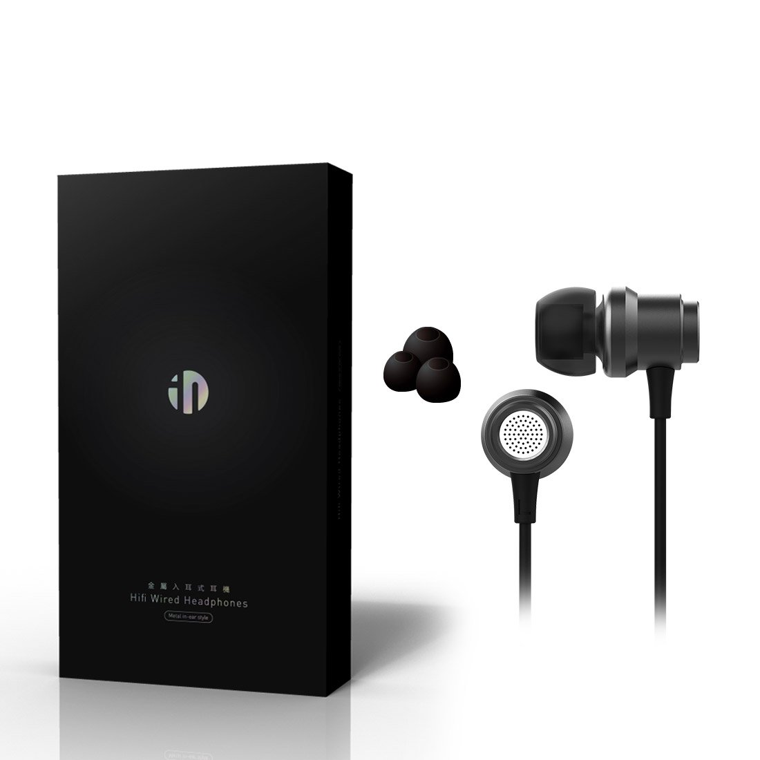 Inphic IN6 In-ear Headphones Earphones Noise Isolating Heavy Deep Bass Earbuds with Microphone for iPhone, iPad, iPod, MP3 Player, Samsung Galaxy Smartphone PC Laptop and more, Classic Black