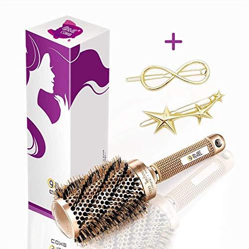 9Oine Boar Bristle Salon Styling Brush (2 inch) Nano Thermal Ceramic & Ionic Round Barrel Hair Brush,Antistatic Hair Brush,Curling & Straightening
