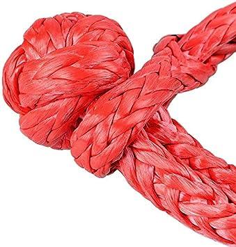 IQQI 1//2 Soft Manille Corde synth/étique avec Protection Manches 38,000Lbs 7,5 tonnes Maximum de Rupture CMU 15,000Lbs pour la Voiture atvs,Rouge