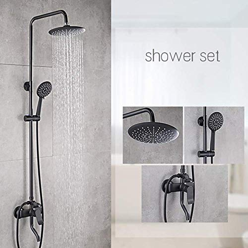 GLXYFC Modern Bath Shower Mixer Shower Set Bathroom Anti Scald Tap Shower Hose and 3-Function Handheld Shower Round Shower Mixer Shower System (Copper) ()