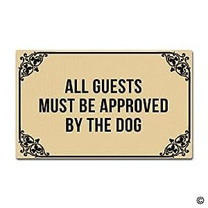msmr Felpudo entrada Felpudo–Felpudo–todos los huéspedes debe ser aprobado por diseño de perro para interiores Felpudo non-woven fabric top 18x 30pulgadas