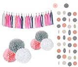 Sopeace 28pcs Pink White Grey Tissue Flowers Pom Pom Poms Party Girl Paper Decorations First Birthday Girl Tissue Flowers Tassel Paper Baby Shower Decorations (White Pink Grey)