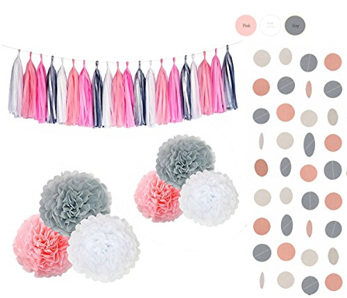 Sopeace 28pcs Pink White Grey Tissue Flowers Pom Pom Poms Party Girl Paper Decorations First Birthday Girl Tissue Flowers Tassel Paper Baby Shower Decorations (White Pink Grey) by Sopeace