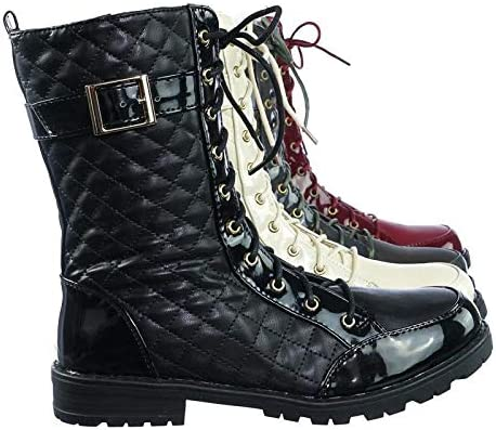Quilted Lace Up Combat Boots w Lug Sole