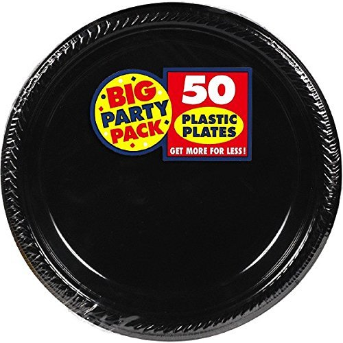 Amscan Big Party Pack 100 Count Plastic Lunch Plates, 10.5-Inch, Black