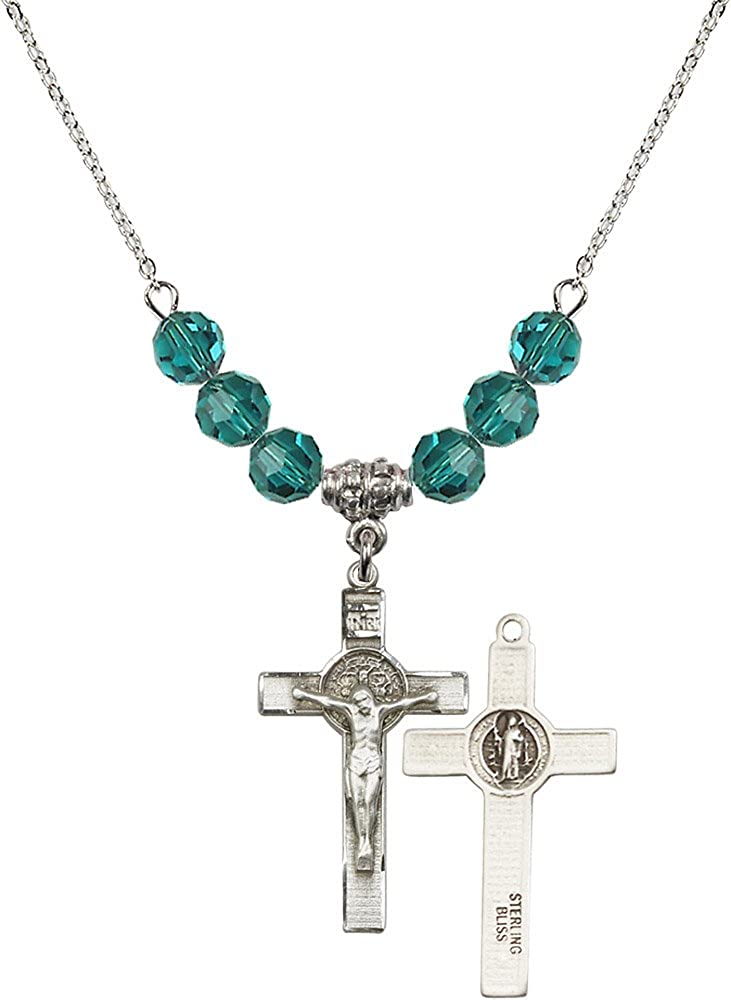 18-Inch Rhodium Plated Necklace with 6mm Zircon Birthstone Beads and Sterling Silver Saint Benedict Crucifix Charm.