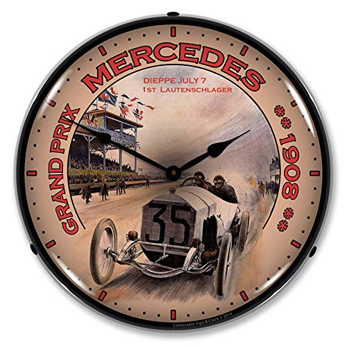 1908 Mercedes Grand Prix LED Wall Clock, Retro/Vintage, Lighted, 14 inch