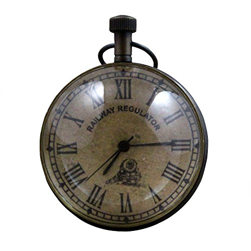 RoyaltyRoute Good Friday Deals!! Antique Retro Vintage Round Metal Table Desk Railway Regulator Clock, 2.7 Inches (Clock Regulator Glass)