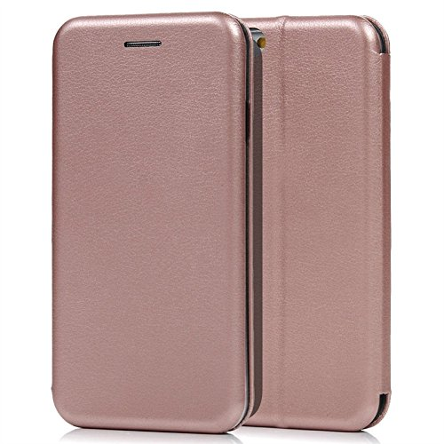 Yokata iPhone 6s Hülle Leder Luxus Lederhülle Rose Gold Tasche Case Sehr Dünn Flip Cover PU mit Weich Silikon Soft Transparent Backcover Standfunktion Magnet Shell Puro Farbe Schutzhülle Kartenfach Ha