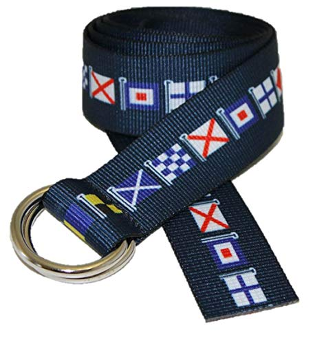 D-Ring Canvas Web Sailing Belt Made in USA by Thomas Bates (Navy Code Flag)