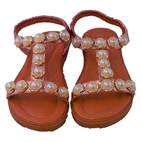 Onitiva Summer Houndstooth Sandals 01-W Rosegold US5