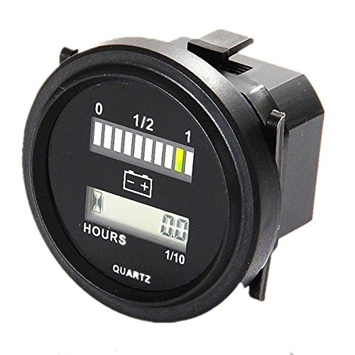 Aimila Digital LED Battery Indicator and Hour Meter 12V 24V 36V 48V 72V Battery Status Charge Meter Gauge (Battery Meter Life)