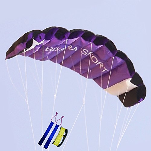 Besra New Arrival Huge 74inch Dual Line Parachute Stunt Kite with Flying Tools 1.9m Power Parafoil Kitesurfing Training kites Outdoor Fun Sports for Beach (74inch Purple)