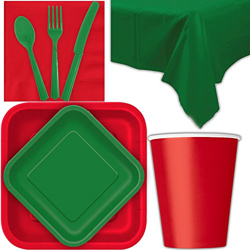 - Disposable Party Supplies for 28 Guests - Ruby Red and Emerald Green - Square Dinner Plates, Square Dessert Plates, Cups, Lunch Napkins, Cutlery, and Tablecloths: Premium Quality Tableware Set