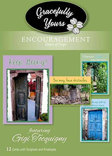 Gracefully Yours Doors of Hope Encouragement Greeting Cards featuring Jennifer Tocquigny, 12, 4 designs/3 each with Scripture - Mall Directions To America Of