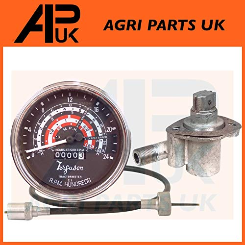 Tacho Tractormeter MPH + Tachometer Angle Drive Unit 4 Cyl 23C + Rev Drive Speedo Cable compatible with Massey Ferguson 65 Tractor: