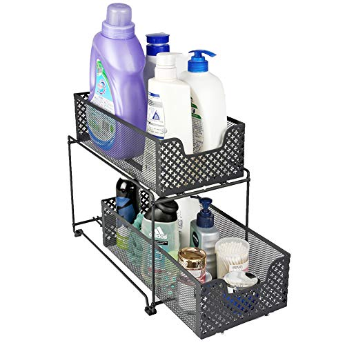 (2 Tier Organizer Baskets with Mesh Sliding Drawers, Ideal Cabinet, Countertop, Pantry, Under the Sink, and Desktop Organizer for Bathroom,Kitchen, Office.)