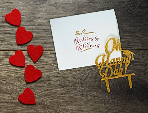 Rubies & Ribbons Graduation Cake Topper Gold Glitter Oh Happy Day Party Decoration with Gift Box by Rubies & Ribbons (Image #1)