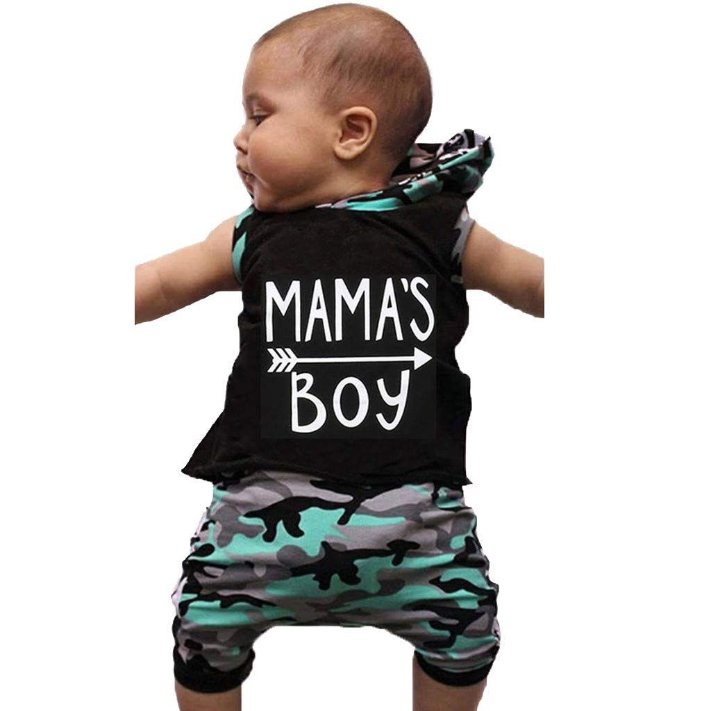 Toddler Baby Boys Tracksuit Letter Print T-Shirt Vest Top Hooded Tops+Camouflage Shorts Pants Clothing Set Outfits Sets for 0-3 Years