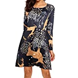 WuyiMC 2018 Women Christmas Dress Long Sleeve Cozy Flared Vintage T-Shirt Dress