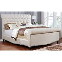 Best Quality Furniture B40Q B40 Bed Beige Tufted Sleigh Upholstered, Queen Size