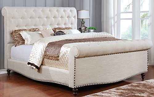 (Best Quality Furniture B40CK B40 Beige Tufted Sleigh Upholstered Bed, Cal King )