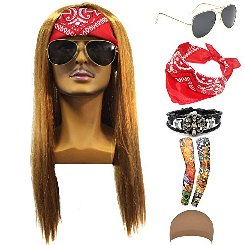 (70s 80s 90s Men's Disco Halloween Rock Star Heavy Metal Wig Set Packet of 6)