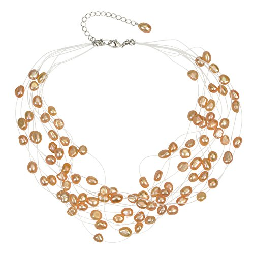 Baroque Peach - Regalia Multi Strand Baroque Peach Freshwater Cultured Pearl Floating Necklace