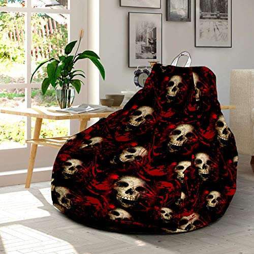 Funny Cartoon Halloween Skull Ultra Soft Bean Bags Chairs Beanless Bag Chair with Microsuede Cover Birthday Themed Gifts for Kids Teens Adults Boys Girls Lovers -