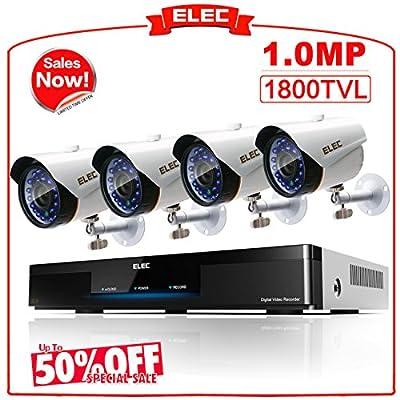 ELEC 8CH 960H DVR 8-Channel 1200TVL Home CCTV Surveillance Security Cameras System, Free Mobile Phone Remote Veiw, Remote Access