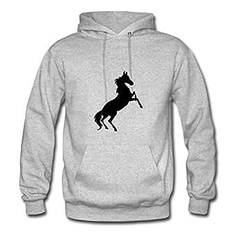 Grey Regular Different Horse Hoodies X-large Women Custom-made