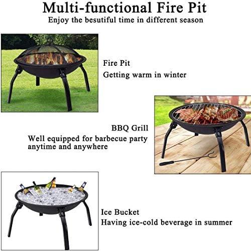 Cheminée avec barbecue Terrasse Jardin Brasier, Portable pliant Brasier, 4 pieds de pique-nique bol autour du feu, avec pare-étincelles, cheminée poker, noir